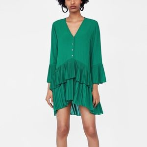 Zara green contrasting pleated blouse